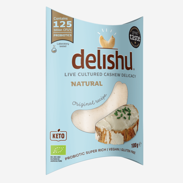 Delishu - Cultured cashew product, natural, organic pack of 10x100g