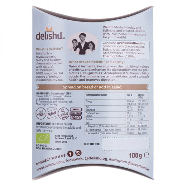 Delishu - Cultured cashew product, natural, organic