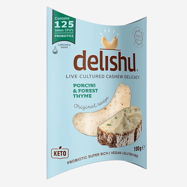 Delishu -Cultured cashew product, porcini & forest thyme, organic - pack of 10x100g