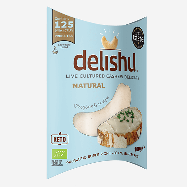 Delishu -Cultured cashew product, natural, organic pack of 10x100g